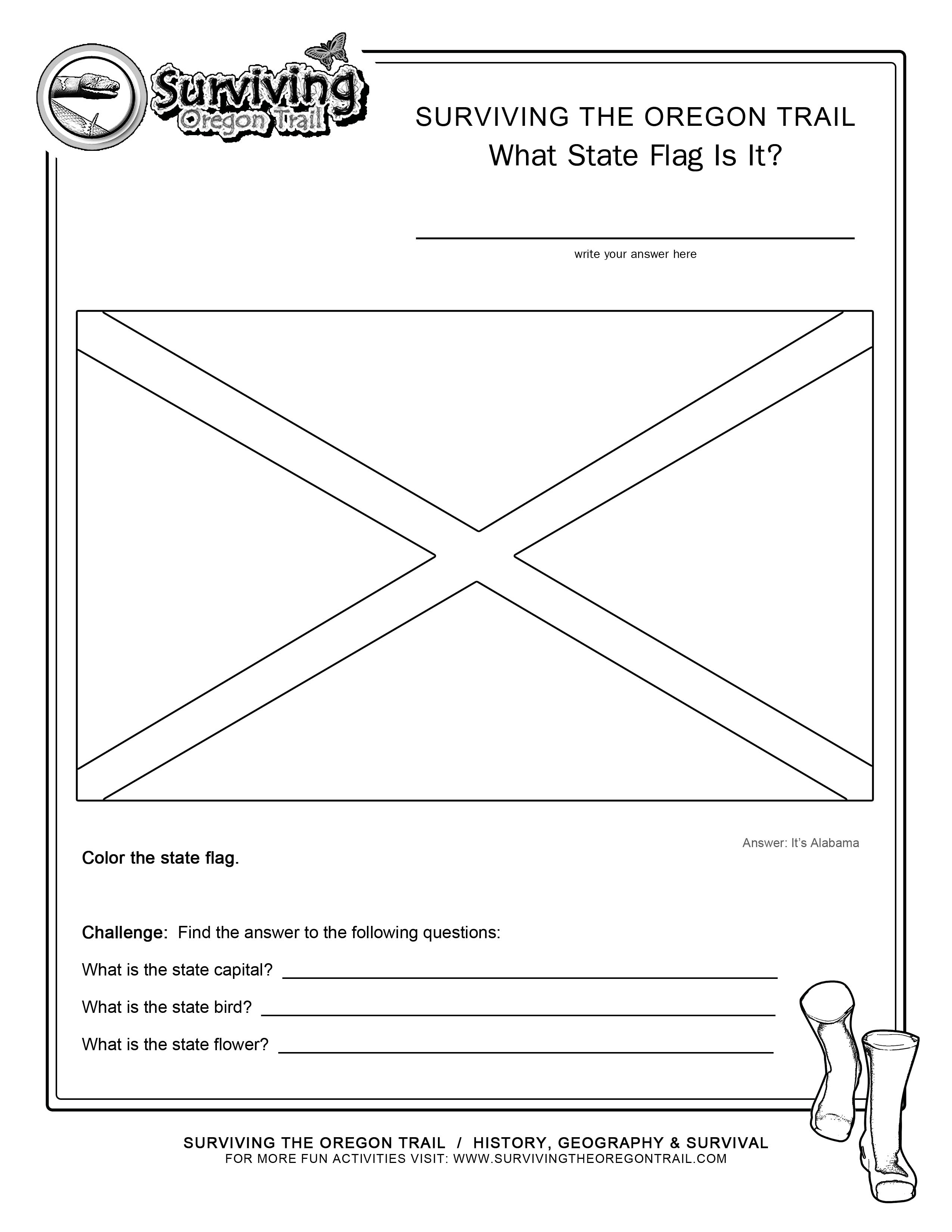 alabama state flag coloring page - coloring page state flag alabama printable worksheet