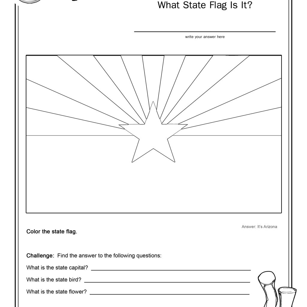Coloring Page State Flag Arizona