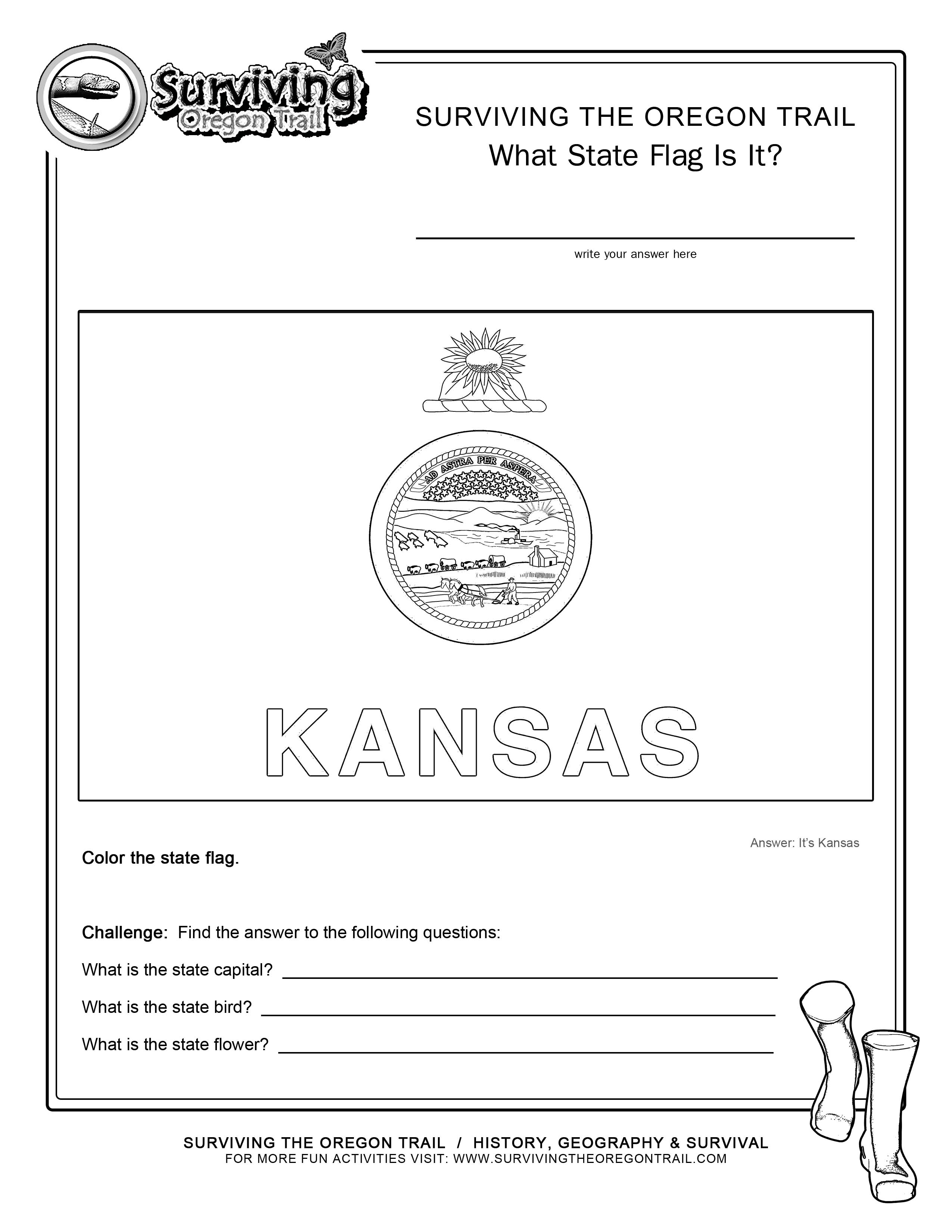 Flags archives surviving the oregon trail for Kansas flag coloring page