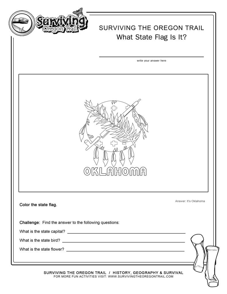 Coloring Page State Flag Oklahoma Printable Worksheet - Surviving ...