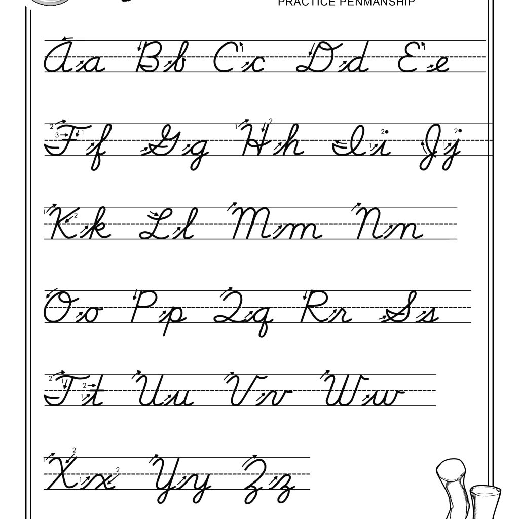 Worksheets Free Cursive Writing Worksheets practice penmanship free abcs printable cursive writing worksheet x large