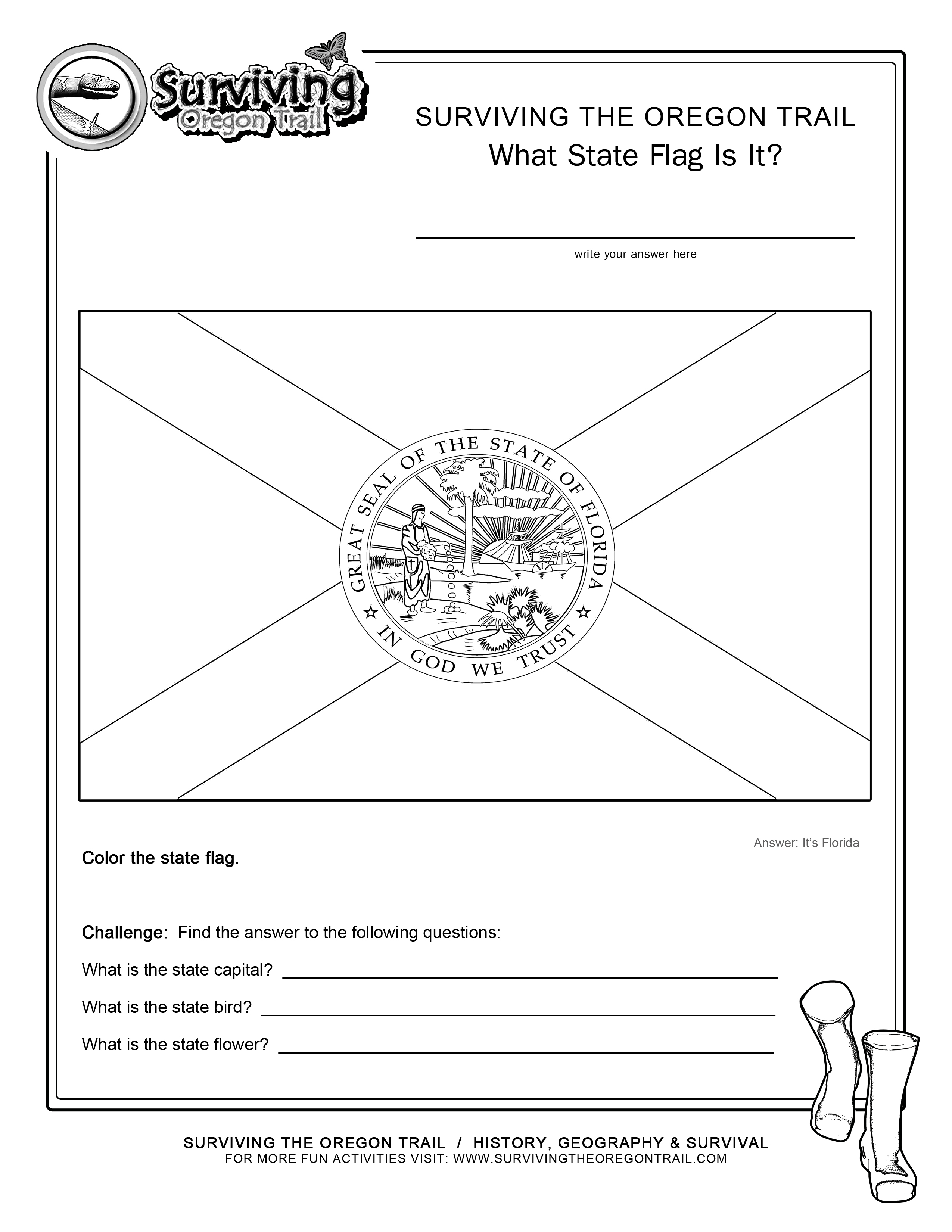 Coloring Page State Flag Florida Printable Worksheet Surviving The
