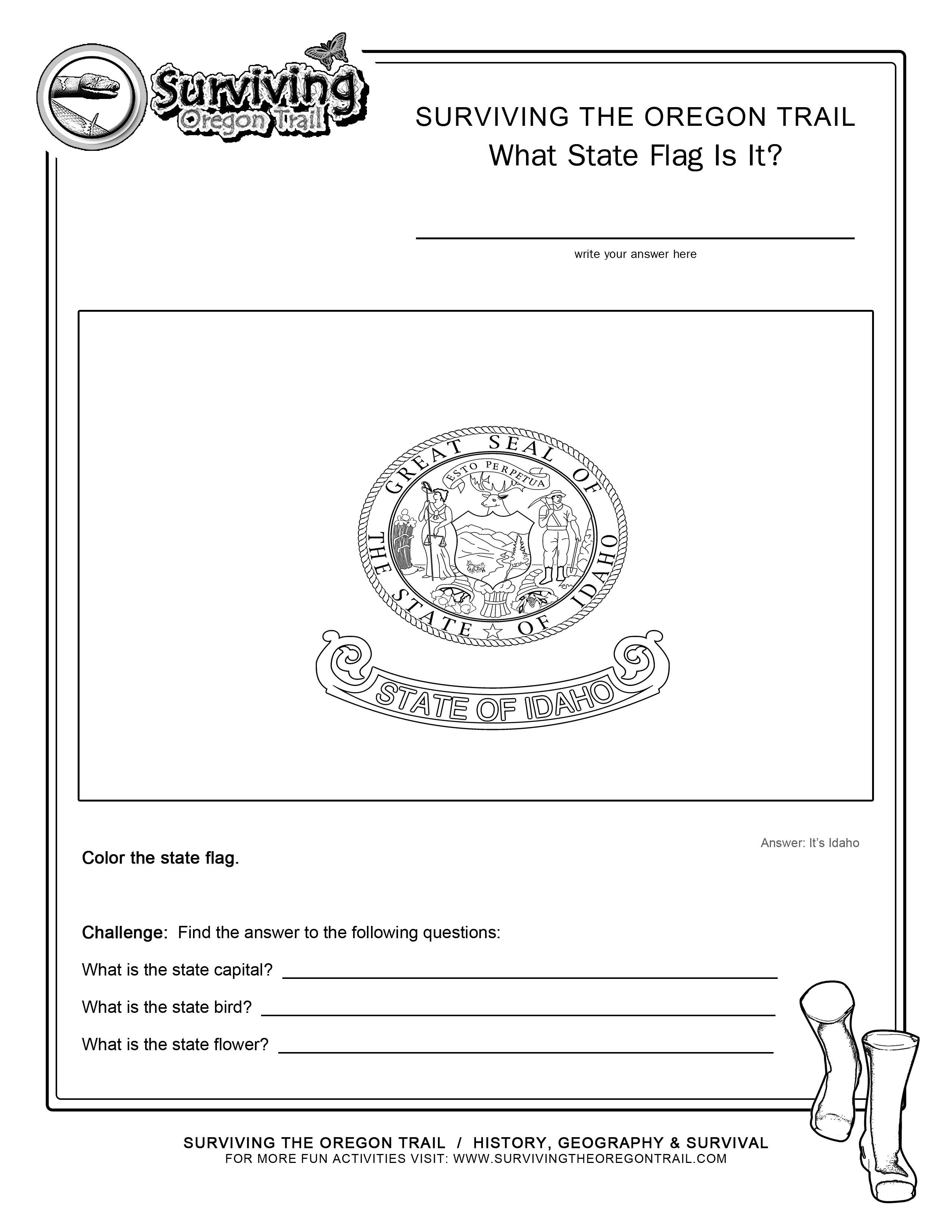 Coloring page state flag idaho printable worksheet surviving the