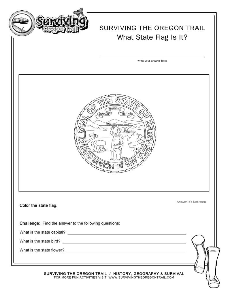 Coloring Page State Flag Nebraska Printable Worksheet ...