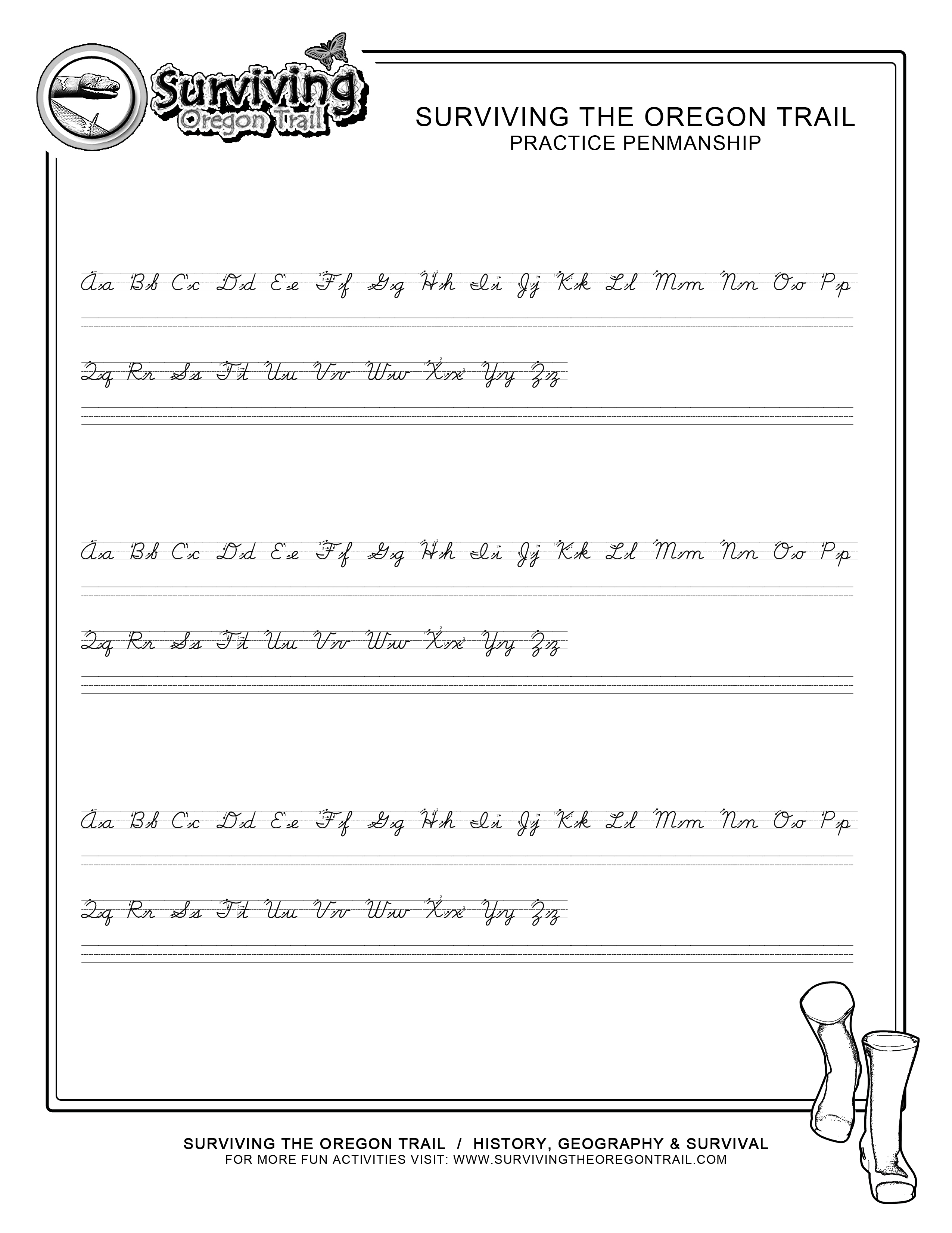 free abc s cursive worksheet small print surviving the oregon trail. Black Bedroom Furniture Sets. Home Design Ideas